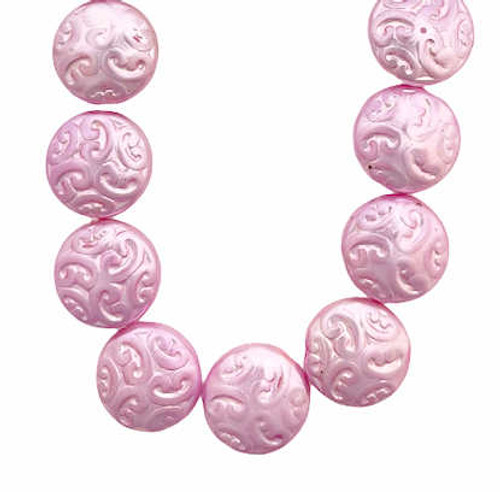 Arabesque Coin Beads, 14mm, Pink Pearl (Qty: 15)