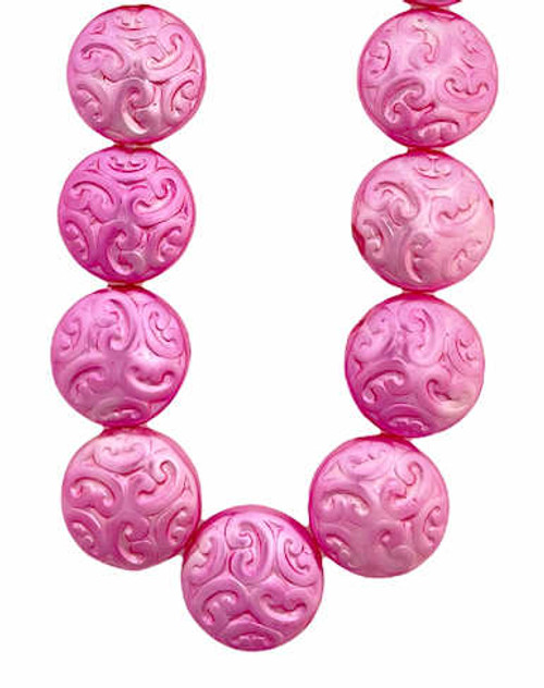 Arabesque Coin Beads, 14mm, Hot Pink (Qty: 15)