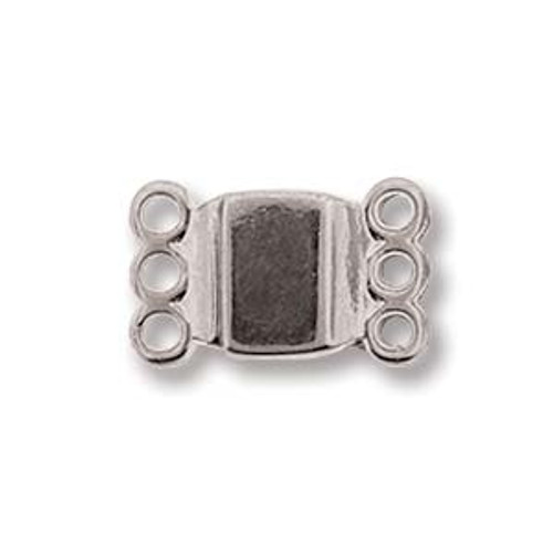 Small Magnetic Clasp, 3 strand, Silver Plated, 13.7 x 8.6mm (Qty: 1)