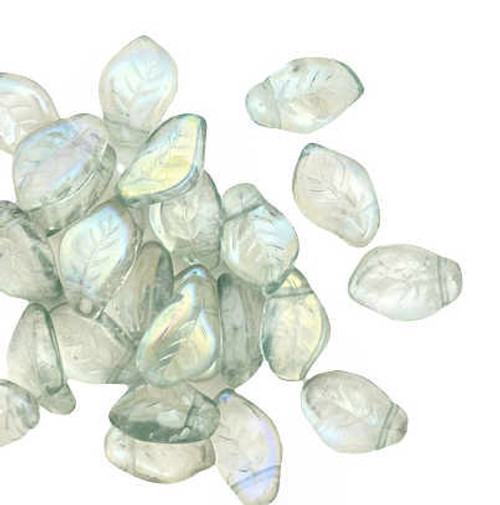 Czech Glass Top-Drilled Leaf Beads, 10x14mm, Pale Green AB (Qty: 28)