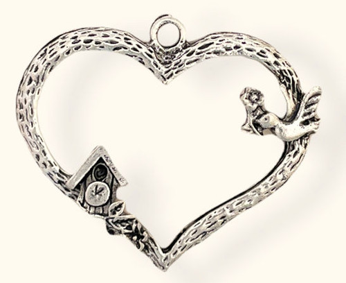 Large Heart w/Bird & Birdhouse, Silver-Plated, 40 x 32.5mm (Qty: 1)