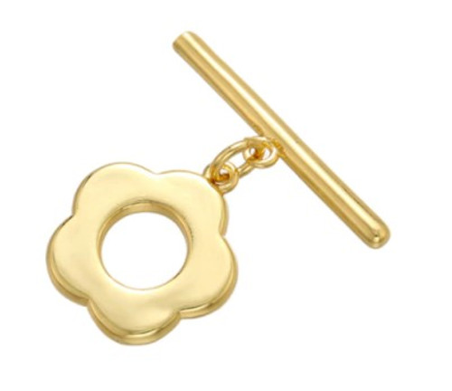 Retro Flower Toggle Clasp, Gold-Plated, 13x14mm (Qty: 1)