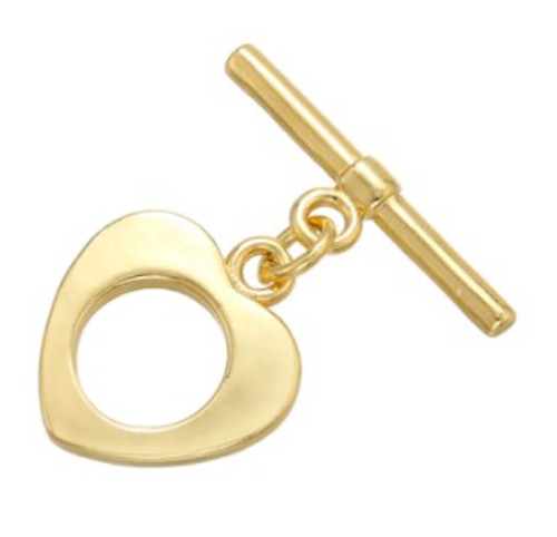 Retro Heart Toggle Clasp, Gold-Plated, 12x13mm (Qty: 1)