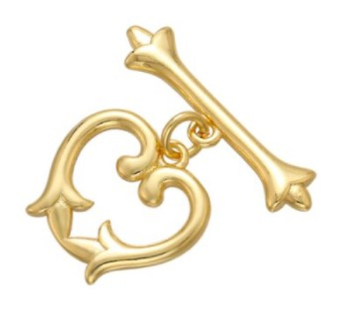 Fancy Heart Toggle Clasp, Gold-Plated, 12x13mm (Qty: 1)