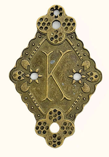 """Initial """"K"""", Bronze-Plated, 26 x 39.5mm (Qty: 1)"""