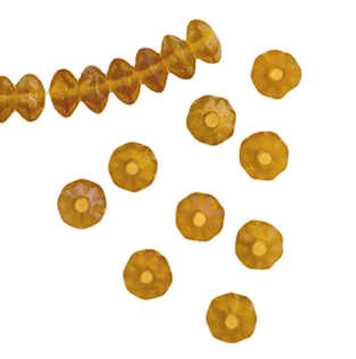 Daisy Spacer Beads, 3x6mm, Topaz AB (Qty: 64)