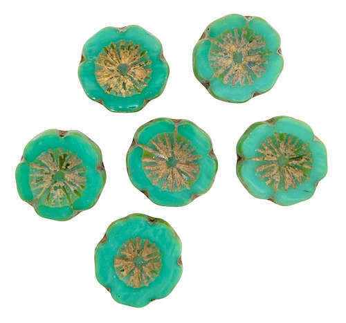 Table-Cut Flower Beads, 13.5mm, Green Turquoise w/Travertine (Qty: 6)