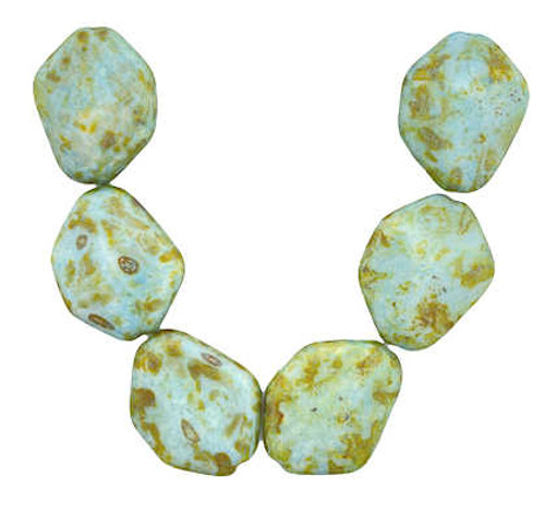 Abstract Flatish Nugget Beads, 20x25mm, Opaque Green Luster (Qty: 6)