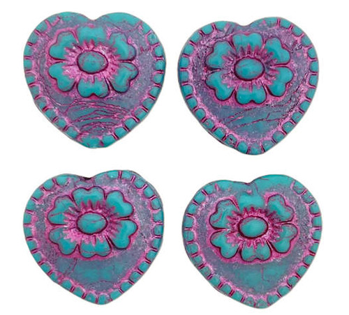 Heart with Flower Bead, Green Turquoise w/ Magenta Wash, 18x17mm (Qty: 4)