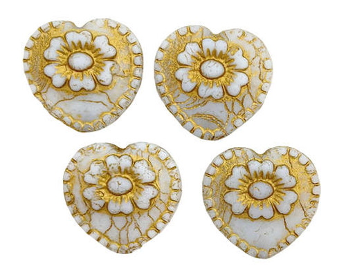 Heart with Flower Bead, White w/ Gold Wash, 18x17mm (Qty: 4)
