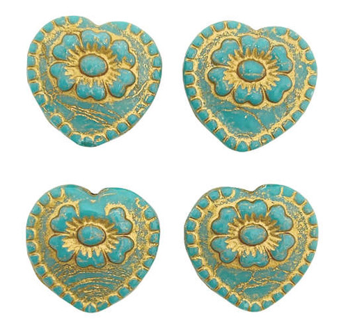 Heart with Flower Bead, Green Turquoise w/ Gold Wash, 18x17mm (Qty: 4)