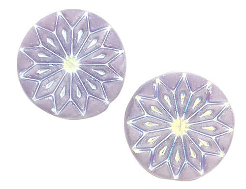 Origami Flower Beads, Light Lavender w/ Silver Wash, 18mm (Qty: 2)