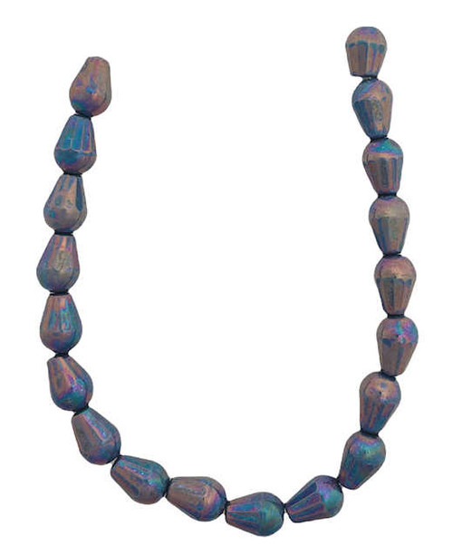 6x8mm Center Drilled Glass Drop Beads, Blue w/Purple Luster (Qty: 19)