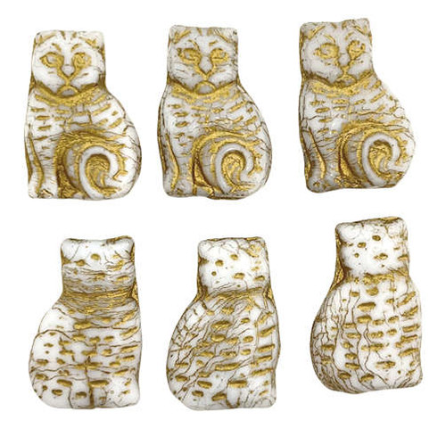 Cats, Off-White w/ Gold Wash, 12x18mm (Qty: 2)