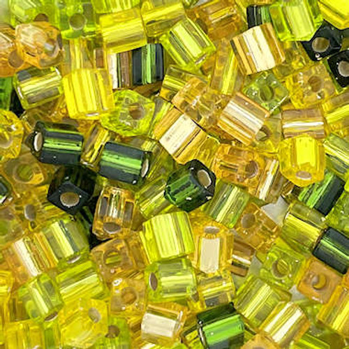 4mm Cube Beads, Transparent Yellow/Green Multi-Mix (10 gr.)