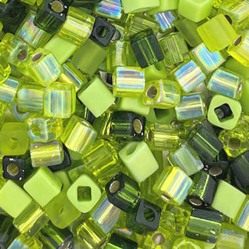 4mm Cube Beads, Lime Green Mix (10 gr.)