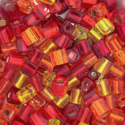 4mm Cube Beads, Red/Yellow/Orange Mix (10 gr.)