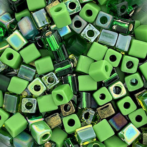 4mm Cube Beads, St. Patrick's Day Mix #1 (10 gr.)