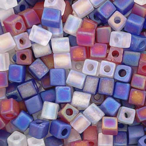 4mm Cube Beads, Frosted Red/White/Blue Mix (10 gr.)