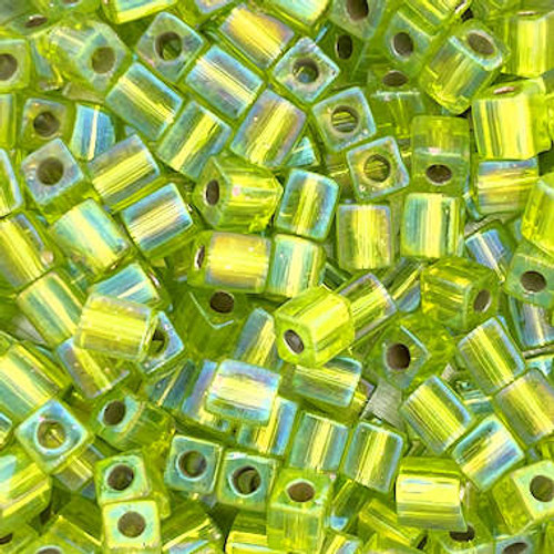 4mm Cube Beads, Transparent Lime Green (10 gr.)
