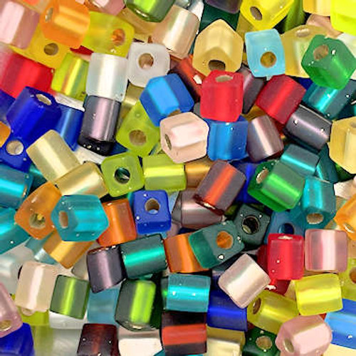 4mm Cube Beads, Multicolor Pearl Finish Mix #2 (10 gr.)