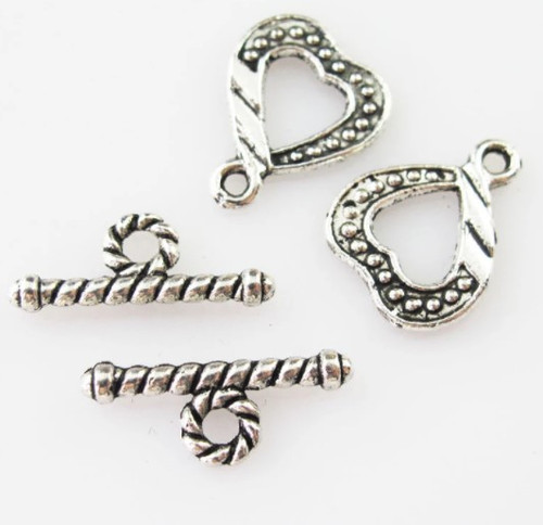 Heart Toggle Clasp, Silver-Plated, 12.5x16mm (Qty: 2)