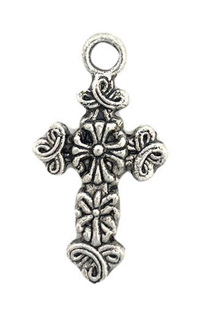Ornate Cross, Silver-Plated, 17.5 x 25.5mm (Qty: 1)