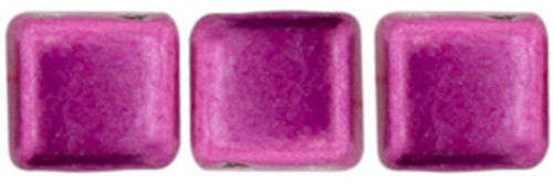 2-Hole Tile Beads, Sueded Gold Fuchsia Red  (Qty: 25)