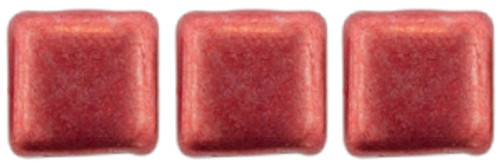 2-Hole Tile Beads, Sueded Gold Samba Red  (Qty: 25)