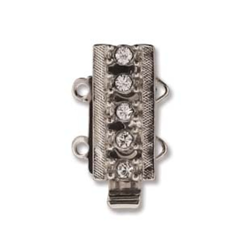 Elegant Elements Clasp, 2-Strand Silver-Plated with 5 Crystals (Qty: 1)