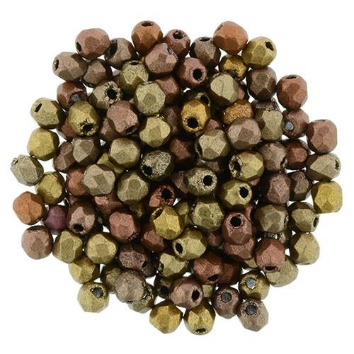 2mm Fire Polish, Matte Metallic Gold Iris (Qty: 50)