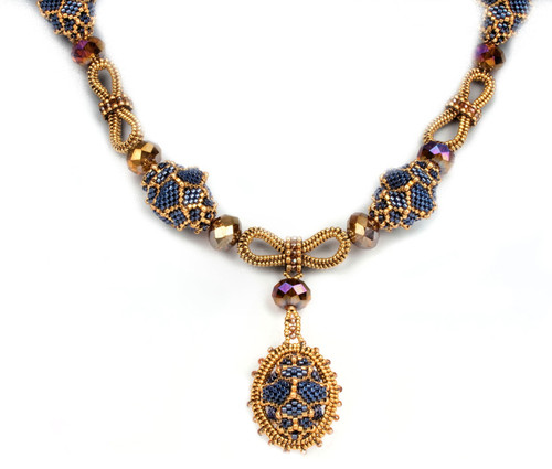 Pitaya Necklace Kit Refill, Blue and Gold