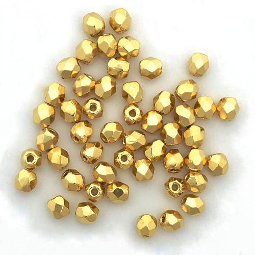 3mm Fire Polish, 24K Gold-Plated (Qty: 50)