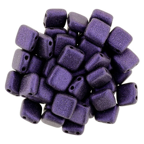 2-Hole Tile Beads, Purple Metallic Suede (Qty: 25)