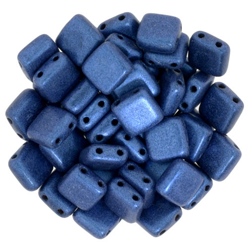 2-Hole Tile Beads, Blue Metallic Suede (Qty: 25)