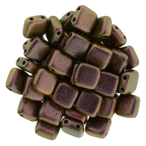 2-Hole Tile Beads, Copper Rose (Qty: 25)