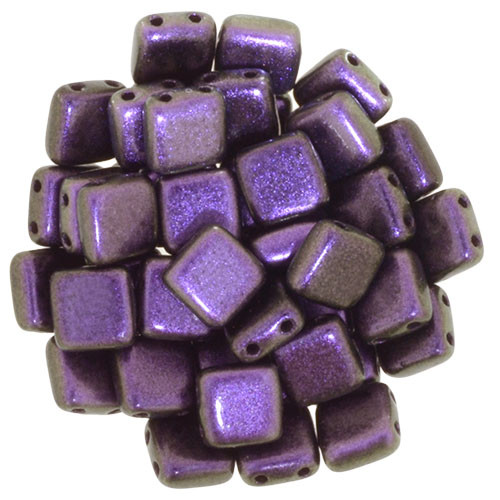 2-Hole Tile Beads, Black Currant (Qty: 25)