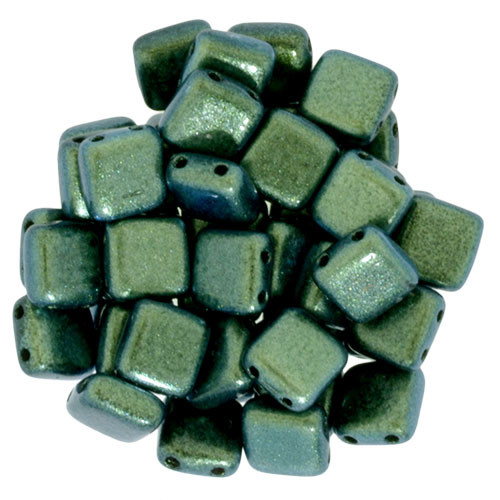 2-Hole Tile Beads, Aqua Teal (Qty: 25)