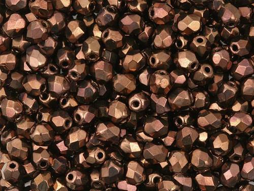 4mm Fire Polish, Dark Bronze (Qty: 50)