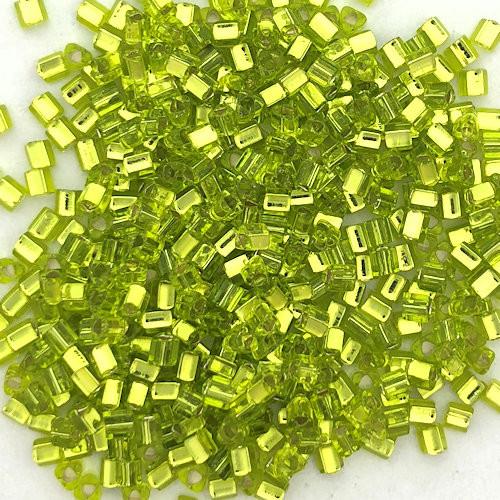 11-TRI-0024, Silver-Lined Peridot Green Triangles (28 gr.)