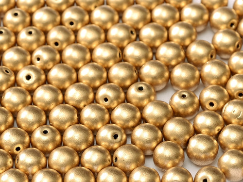 4mm Round Glass Beads, Aztec Gold (Qty: 50)