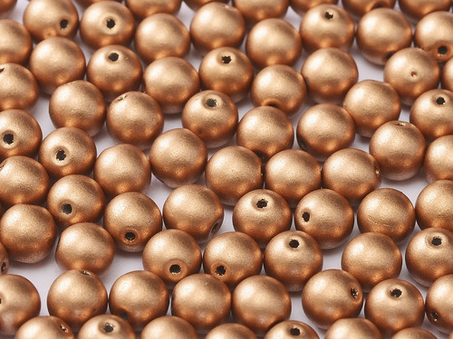 4mm Round Glass Beads, Metallic Vintage Copper (Qty: 50)