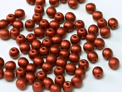 4mm Round Glass Beads, Metallic Lava Red (Qty: 50)