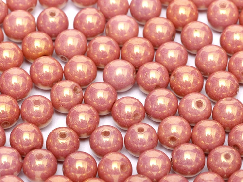 4mm Round Glass Beads, Red Luster (Qty: 50)