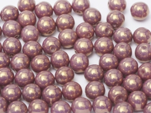 4mm Round Glass Beads, Lilac Vega Luster (Qty: 50)