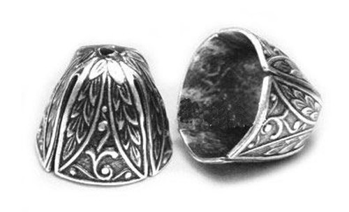 Art Deco Wide End Caps, Antique Silver, ID 12mm (Qty: 2)