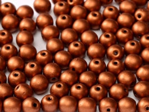 4mm Round Glass Beads, Copper (Qty: 50)