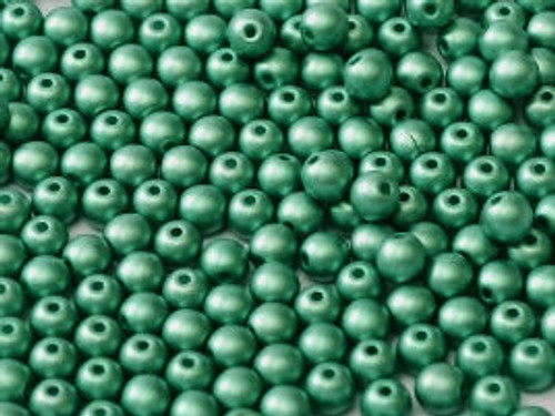 4mm Round Glass Beads, Green Turquoise (Qty: 50)