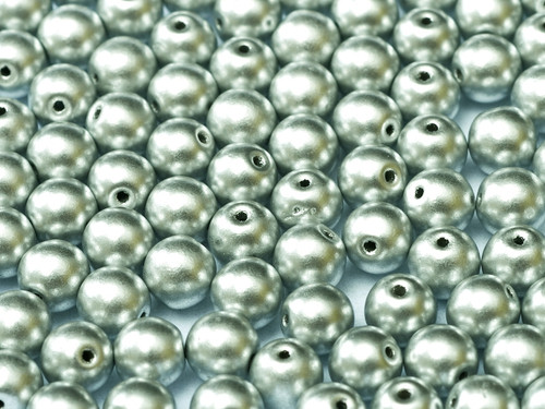 3mm Round Glass Beads,  Aluminum Silver (Qty: 50)