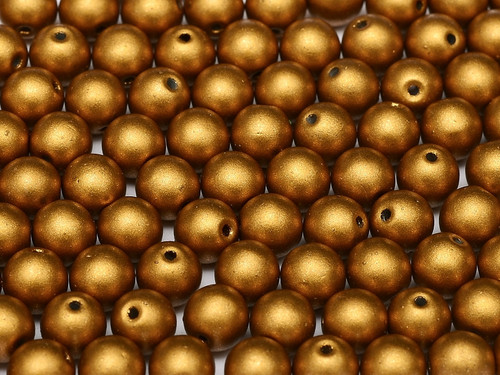 3mm Round Glass Beads, Brass Gold (Qty: 50)